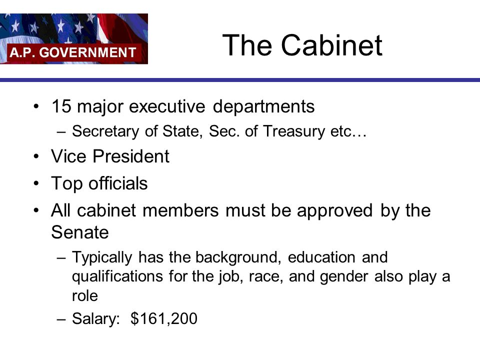 The Cabinet 15 major executive departments Vice President