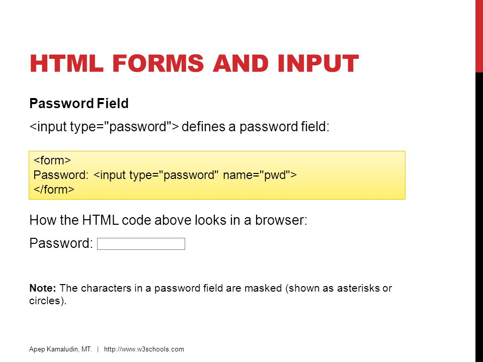 HTML Forms and Input Password Field