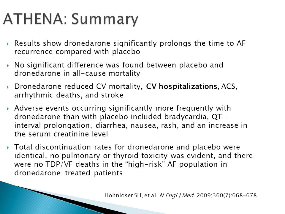 ATHENA: Summary Results show dronedarone significantly prolongs the time to AF recurrence compared with placebo.