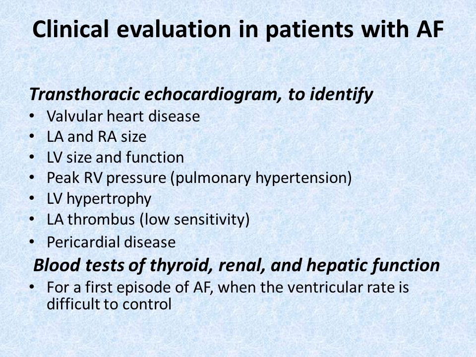 Clinical evaluation in patients with AF