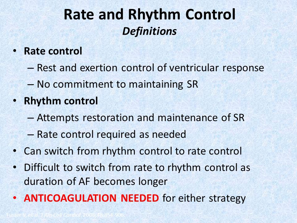 Rate and Rhythm Control Definitions