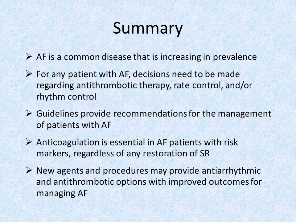 Summary AF is a common disease that is increasing in prevalence