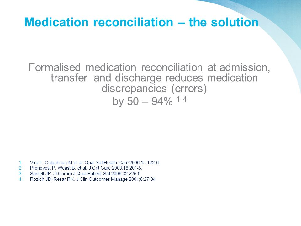 Medication reconciliation – the solution
