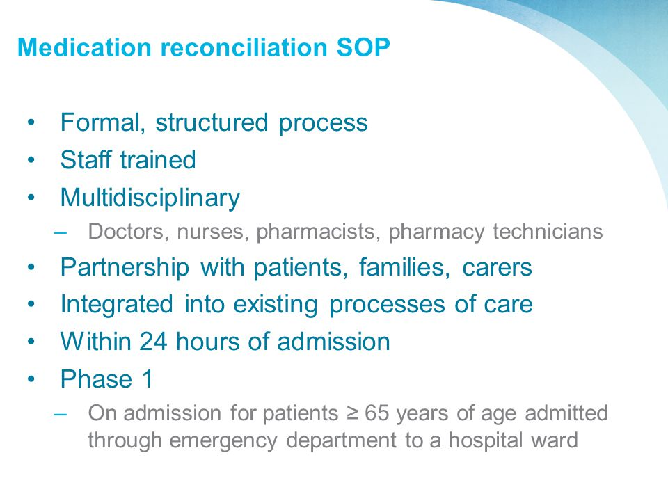 Medication reconciliation SOP