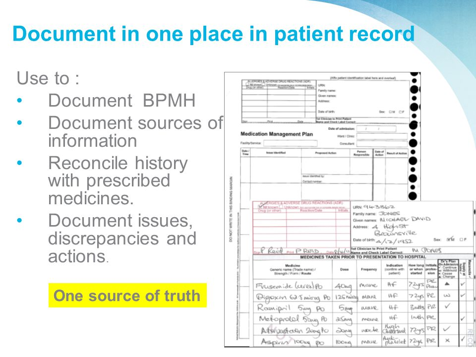 Document in one place in patient record