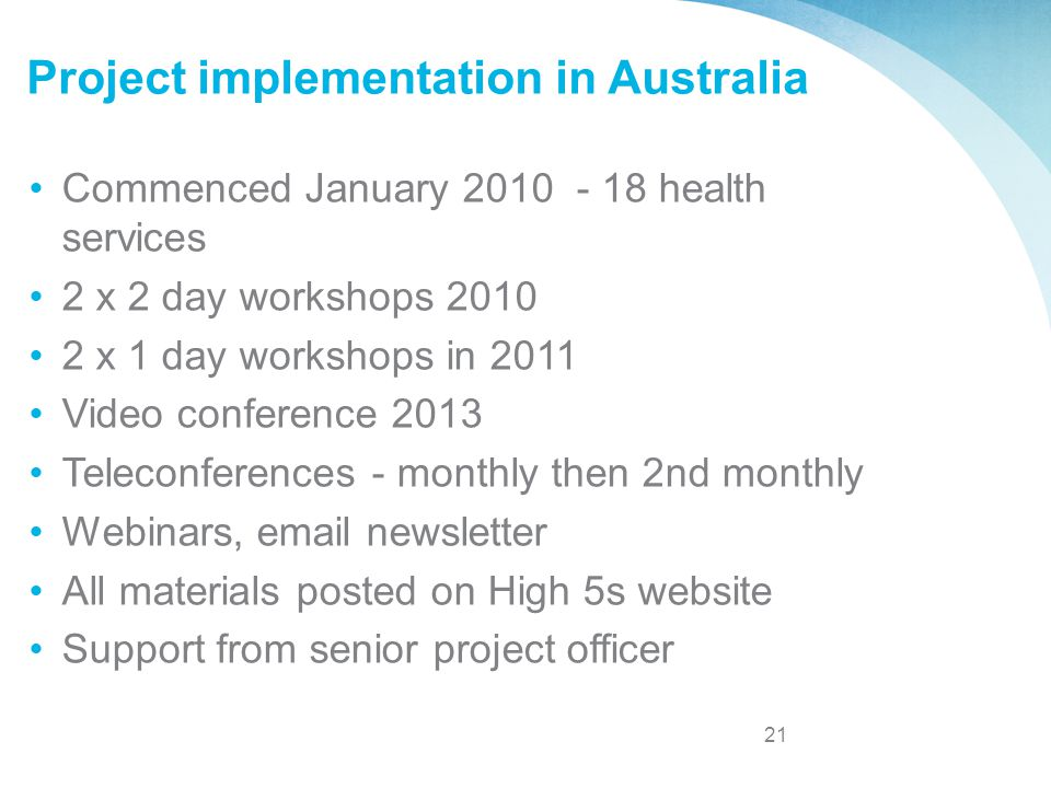 Project implementation in Australia