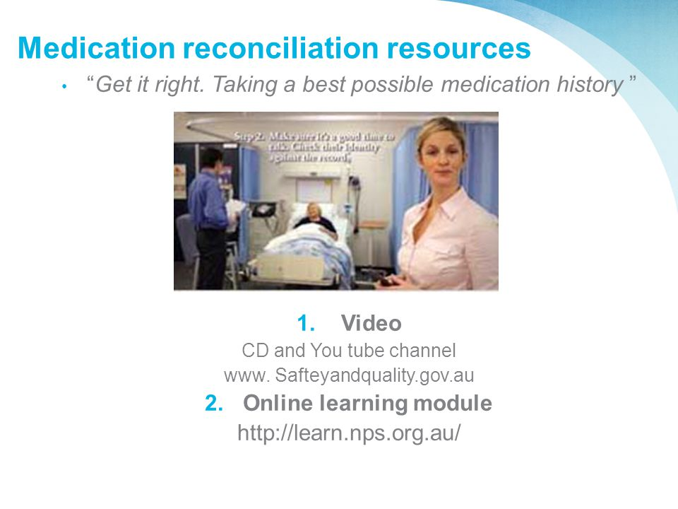 Medication reconciliation resources