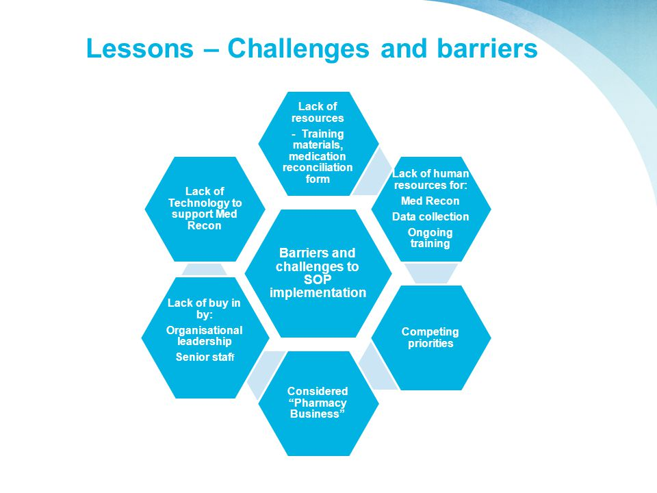 Lessons – Challenges and barriers