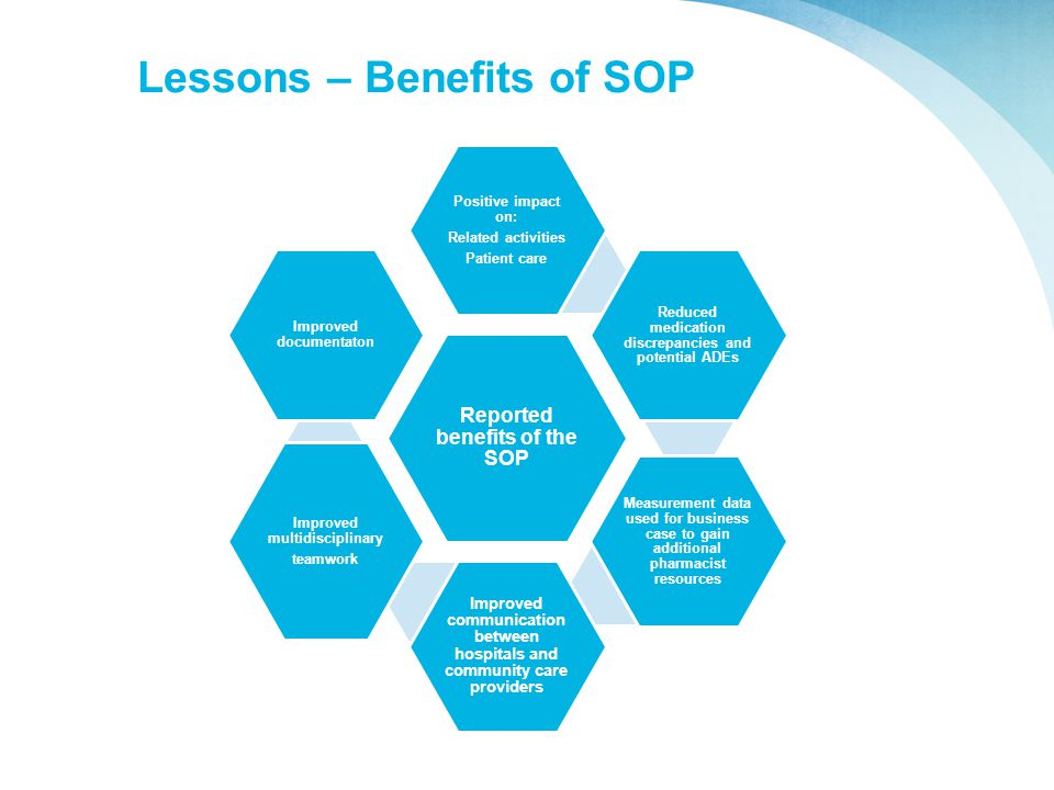 Lessons – Benefits of SOP