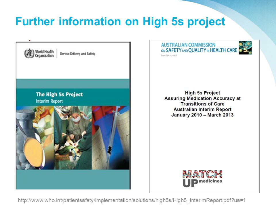 Further information on High 5s project