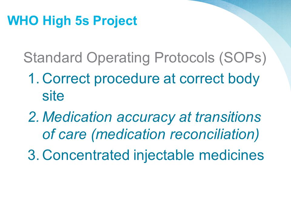 Standard Operating Protocols (SOPs)