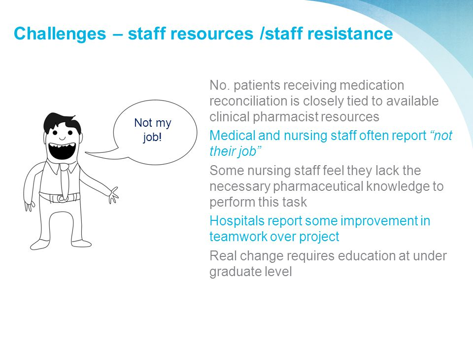 Challenges – staff resources /staff resistance