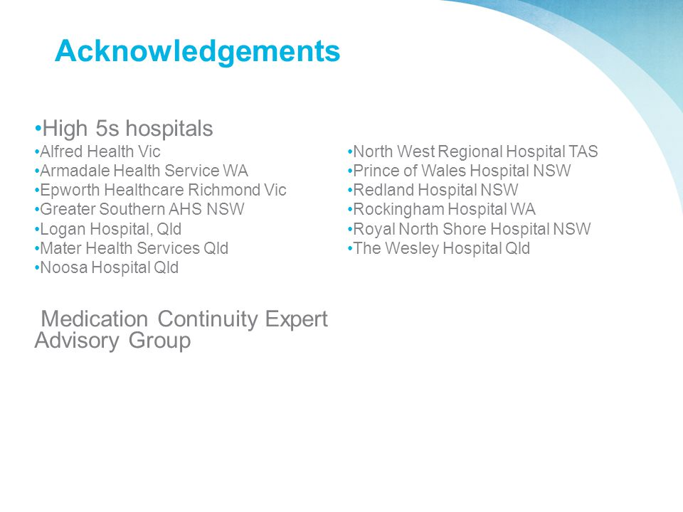 Acknowledgements High 5s hospitals