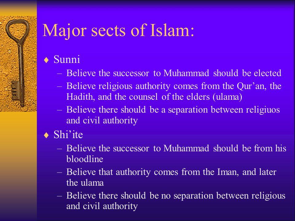 Major sects of Islam: Sunni Shi'ite