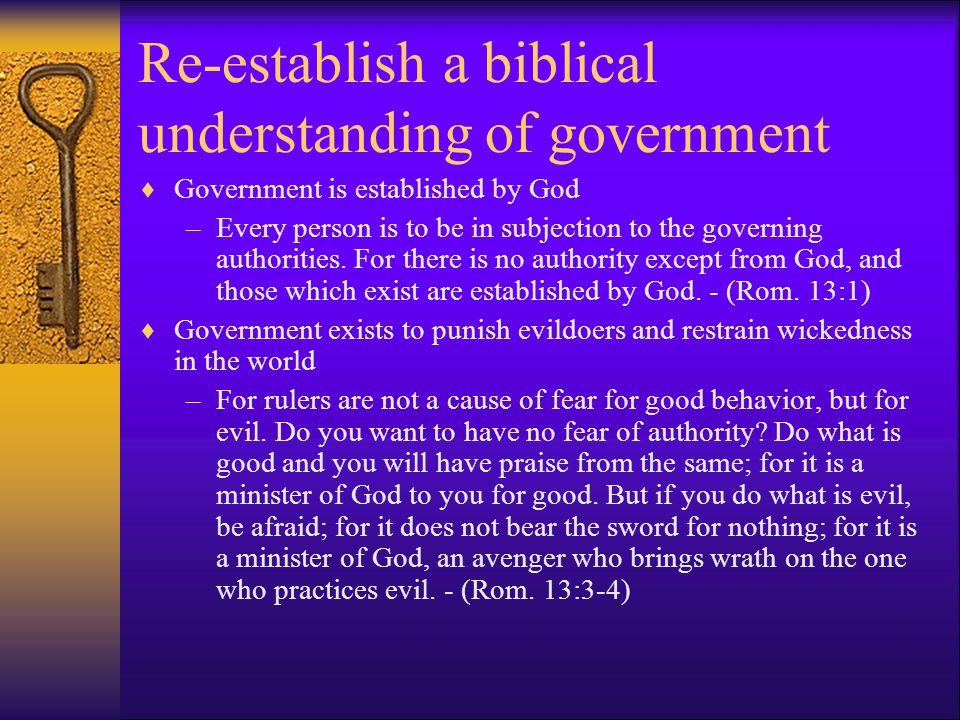 Re-establish a biblical understanding of government