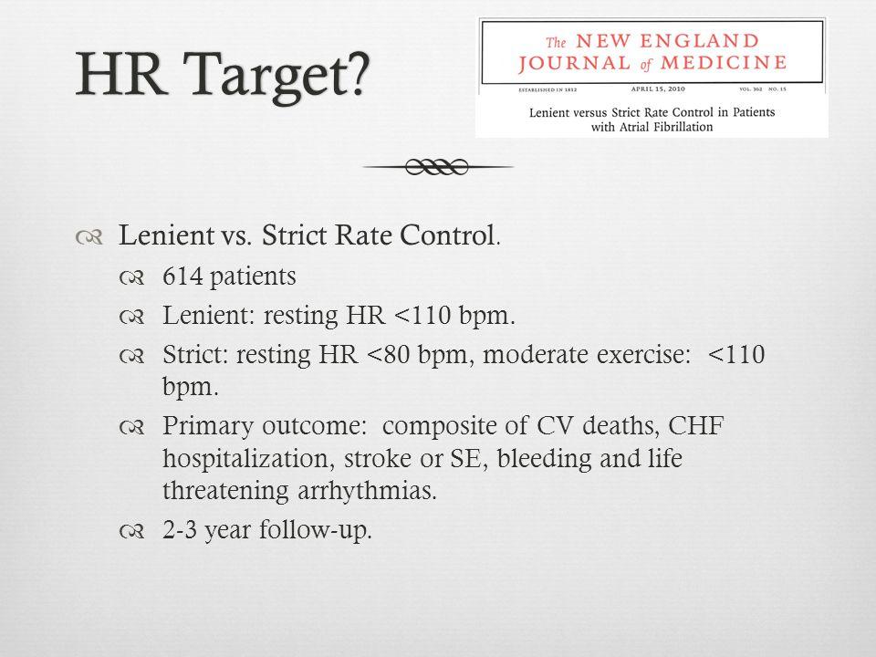 HR Target Lenient vs. Strict Rate Control. 614 patients