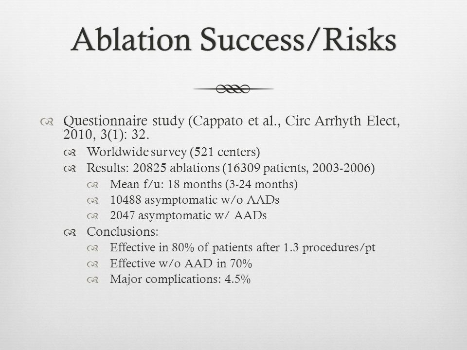 Ablation Success/Risks