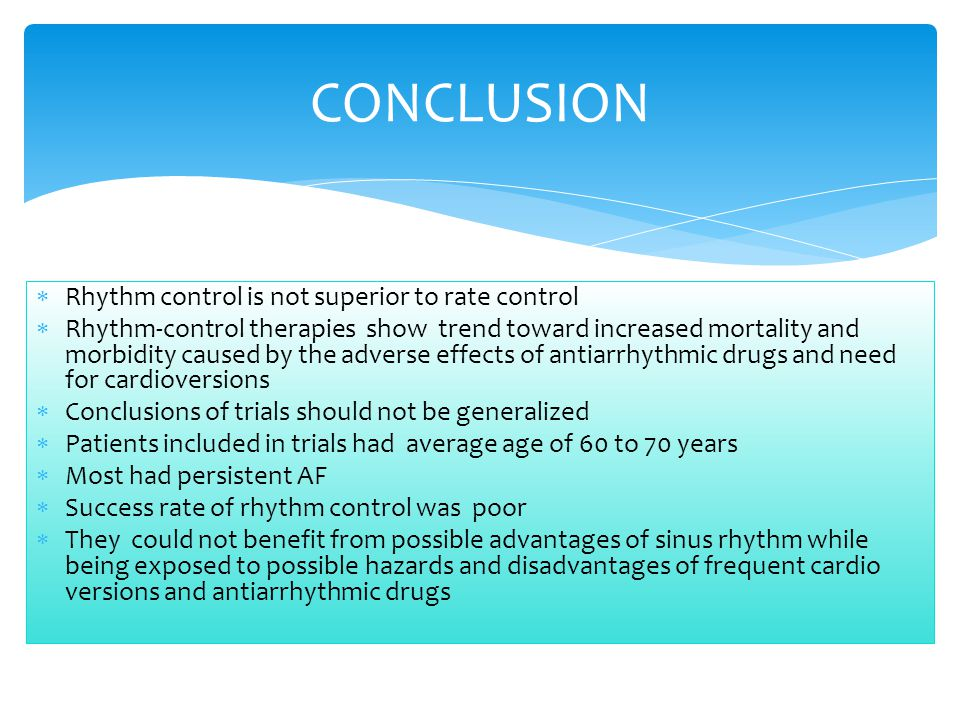 CONCLUSION Rhythm control is not superior to rate control