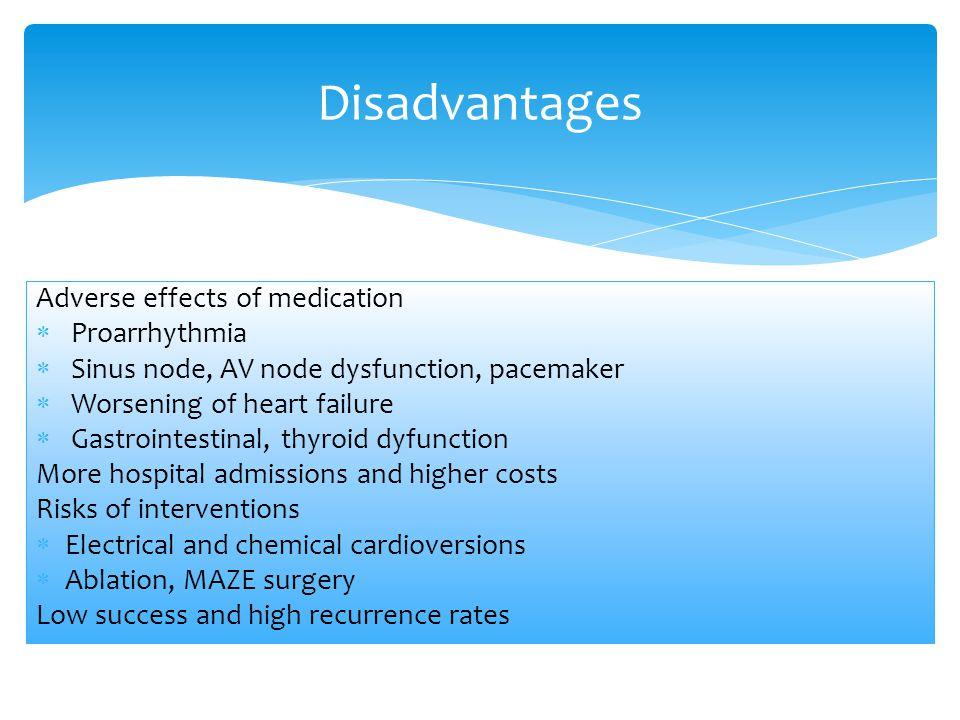 Disadvantages Adverse effects of medication Proarrhythmia