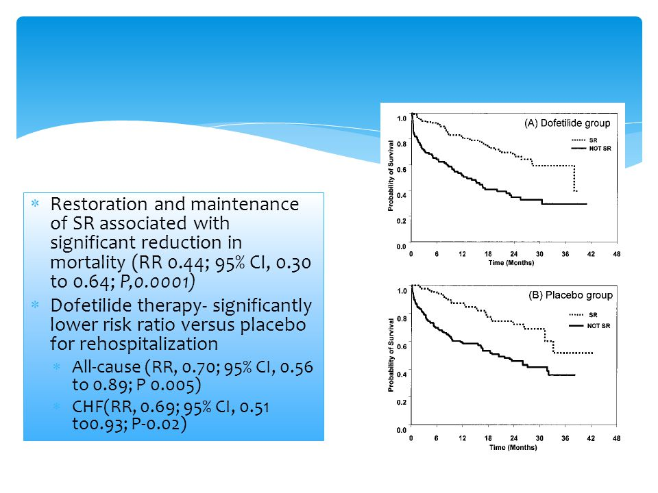 Restoration and maintenance of SR associated with significant reduction in mortality (RR 0.44; 95% CI, 0.30 to 0.64; P,0.0001)