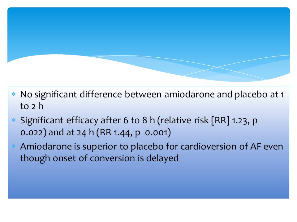 No significant difference between amiodarone and placebo at 1 to 2 h