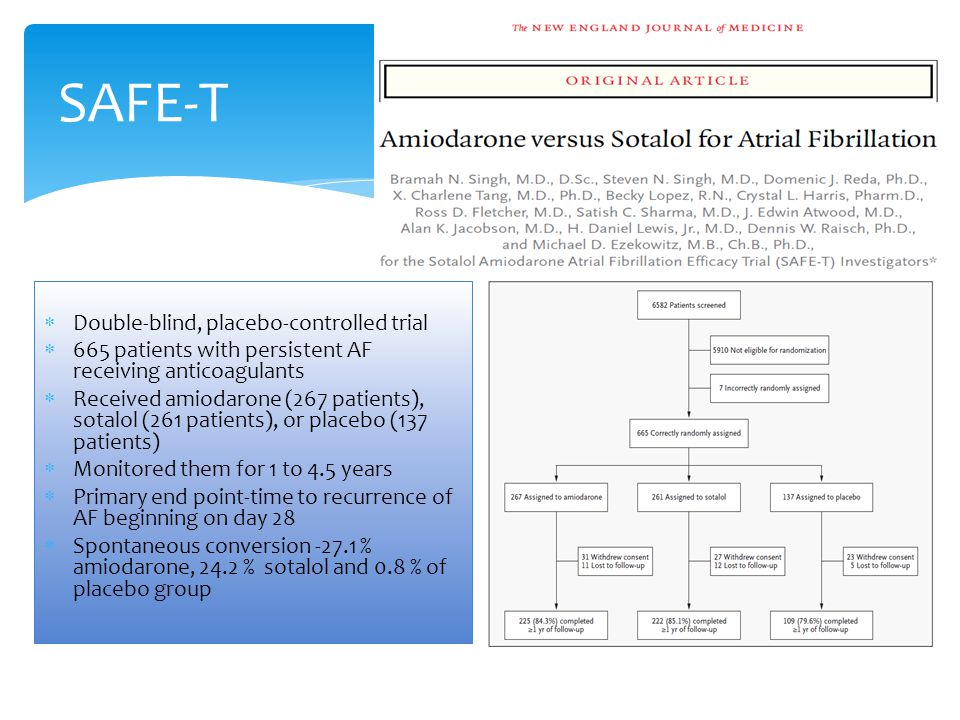 SAFE-T Double-blind, placebo-controlled trial