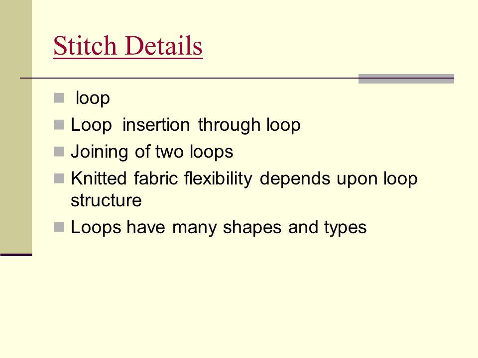 Stitch Details loop Loop insertion through loop Joining of two loops