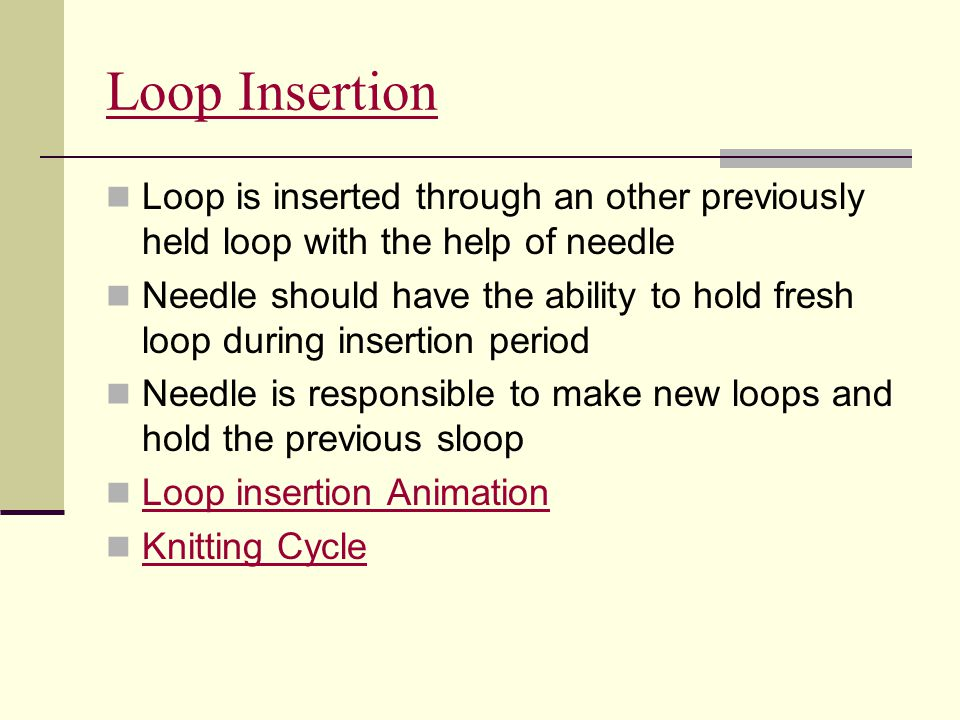 Loop Insertion Loop is inserted through an other previously held loop with the help of needle.