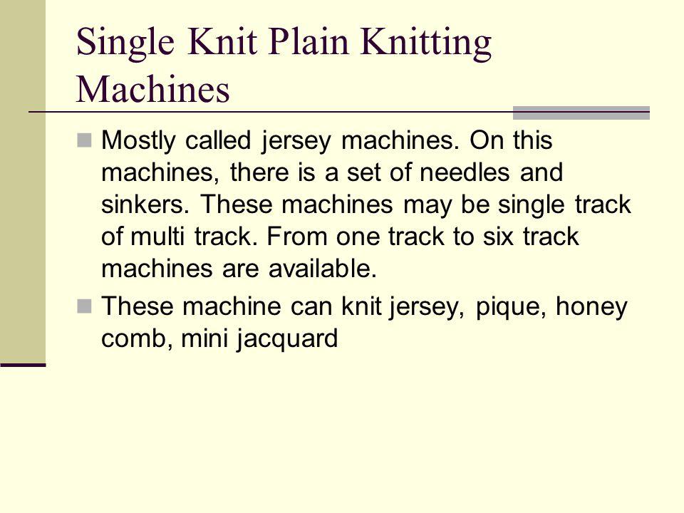 Single Knit Plain Knitting Machines