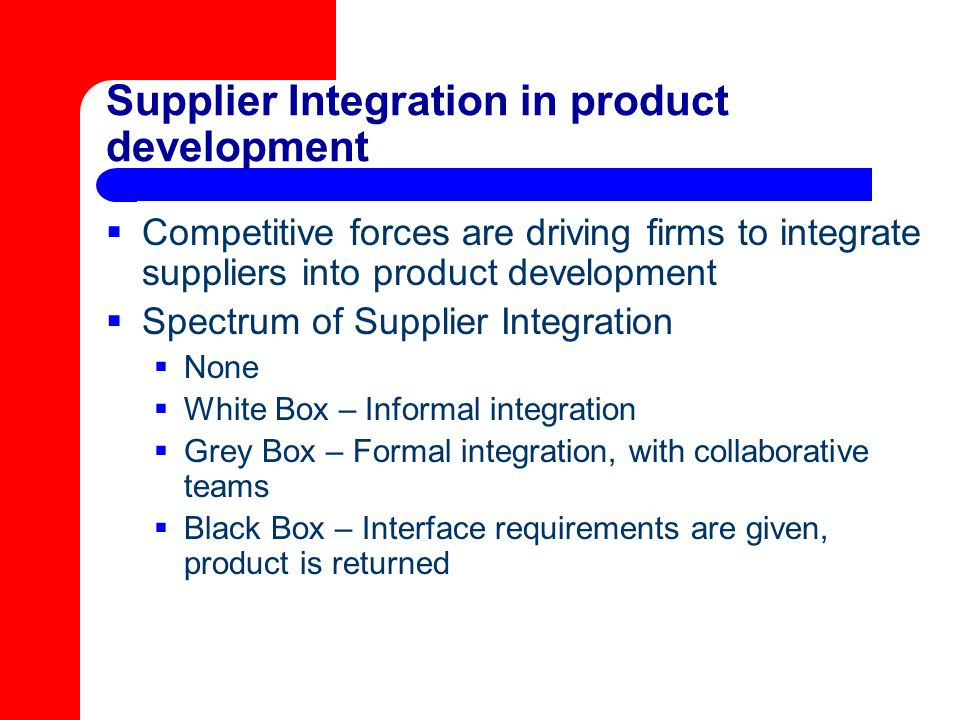 Supplier Integration in product development
