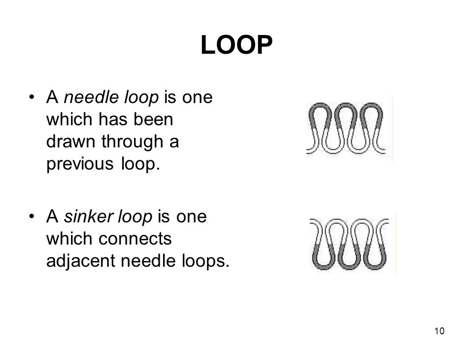 LOOP A needle loop is one which has been drawn through a previous loop.