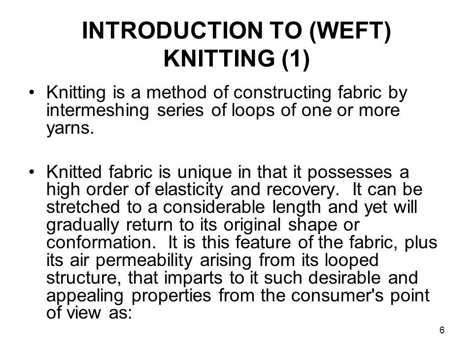 INTRODUCTION TO (WEFT) KNITTING (1)