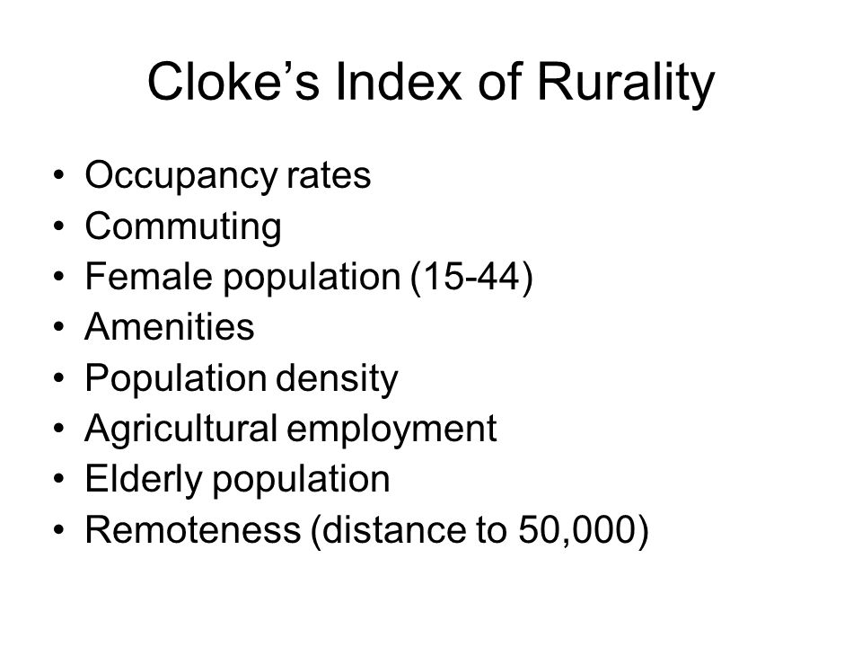 Cloke's Index of Rurality