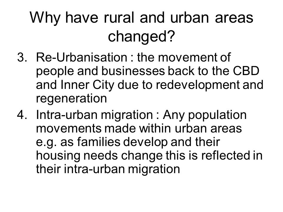 Why have rural and urban areas changed