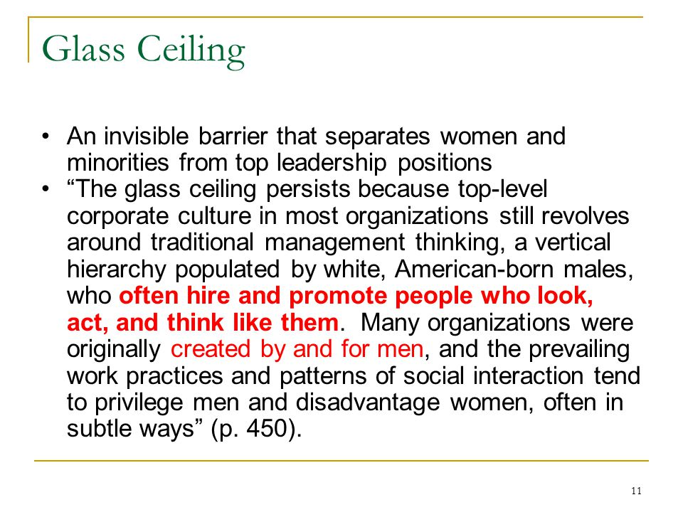 Glass Ceiling An invisible barrier that separates women and minorities from top leadership positions.