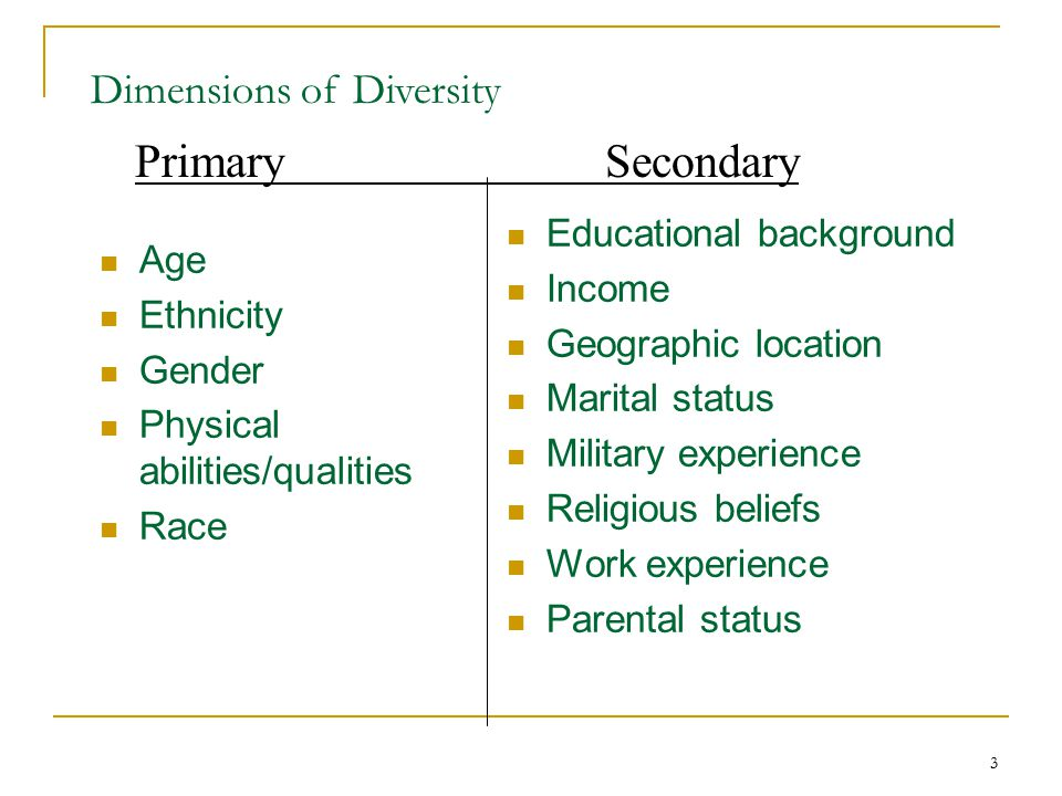 Primary Secondary Dimensions of Diversity Educational background
