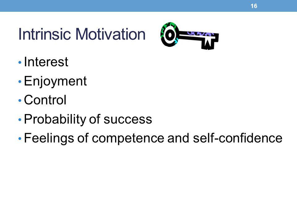 Intrinsic Motivation Interest Enjoyment Control Probability of success