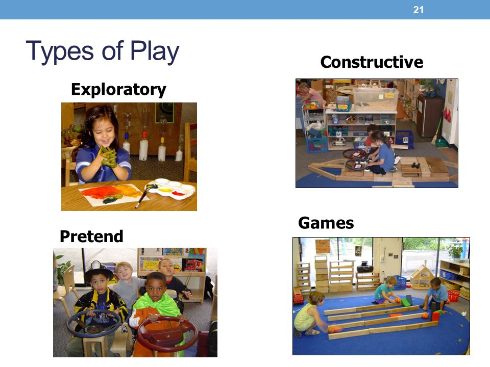 Types of Play Constructive Exploratory Games Pretend