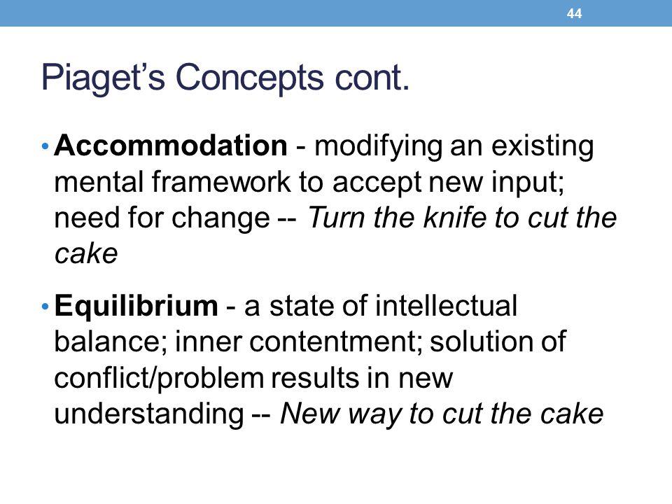 Piaget's Concepts cont.