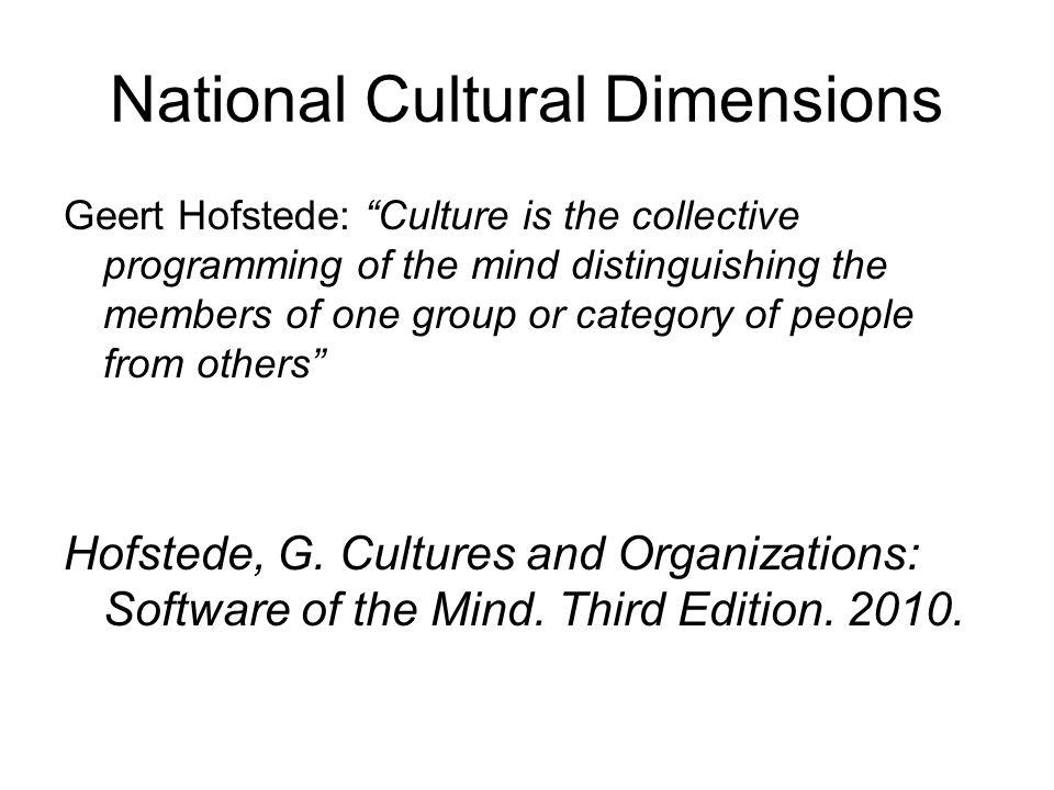 National Cultural Dimensions