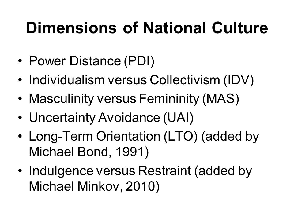 Dimensions of National Culture