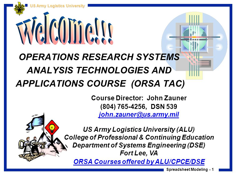 Welcome!!! OPERATIONS RESEARCH SYSTEMS ANALYSIS TECHNOLOGIES AND