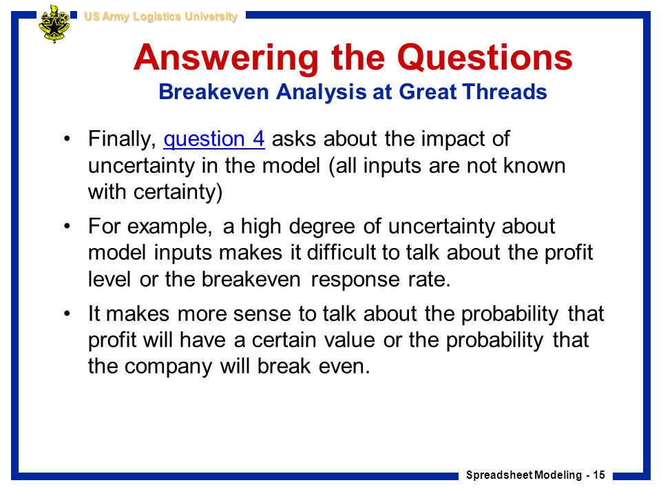Answering the Questions Breakeven Analysis at Great Threads