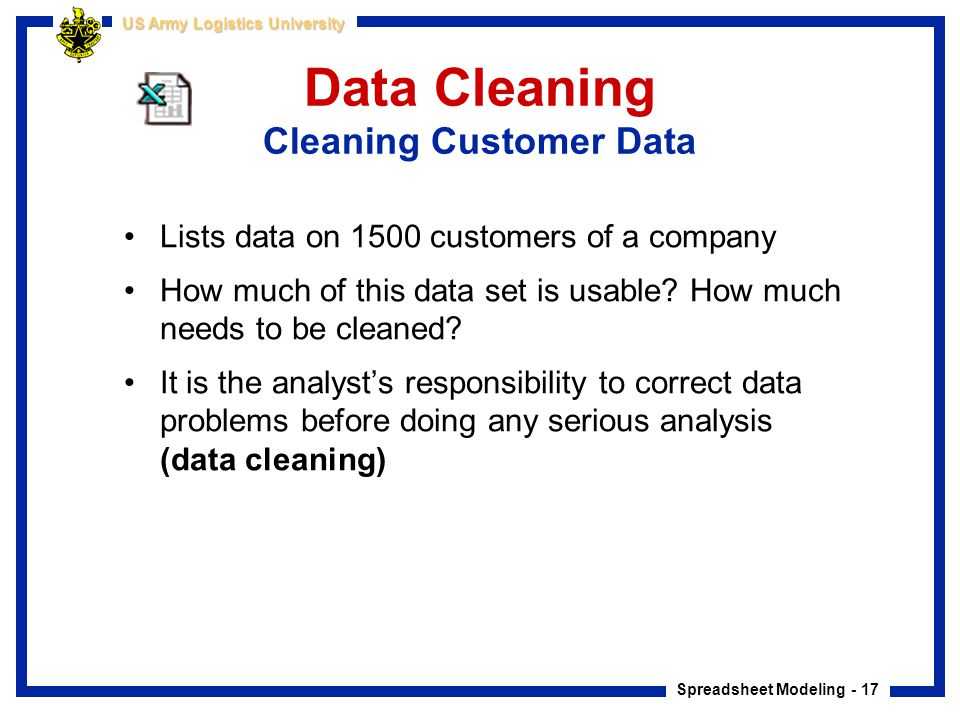 Data Cleaning Cleaning Customer Data