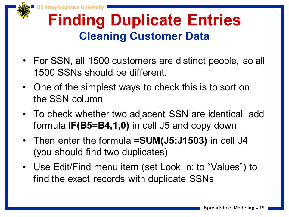 Finding Duplicate Entries Cleaning Customer Data