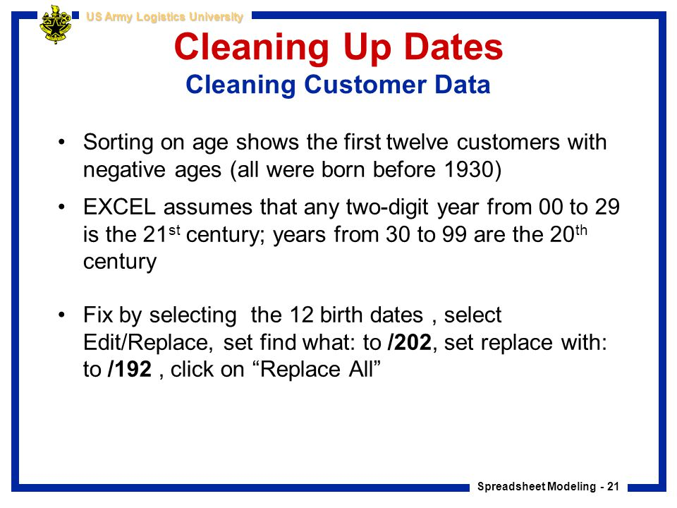 Cleaning Up Dates Cleaning Customer Data