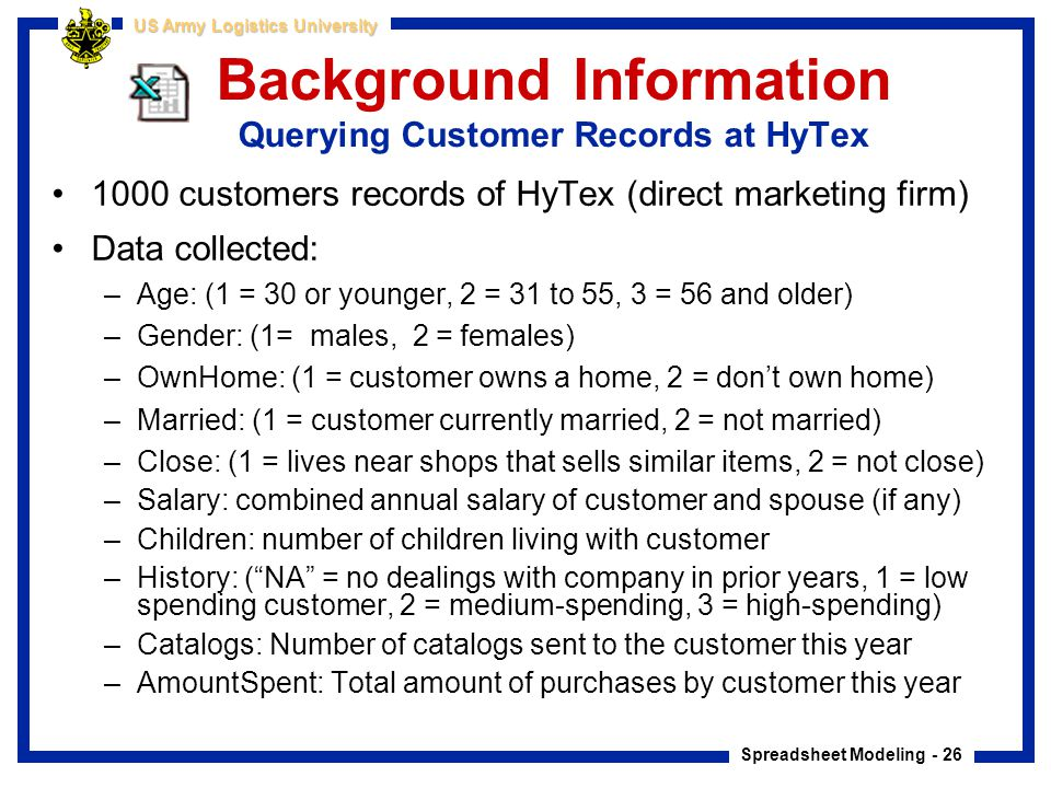 Background Information Querying Customer Records at HyTex