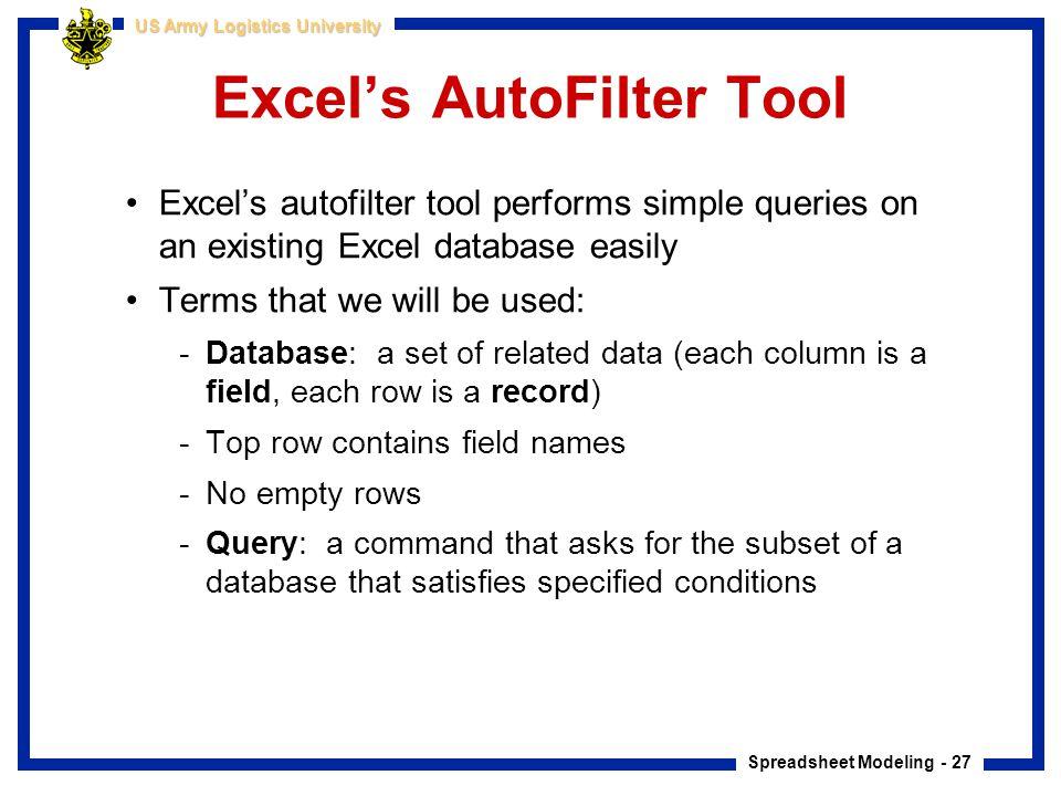 Excel's AutoFilter Tool