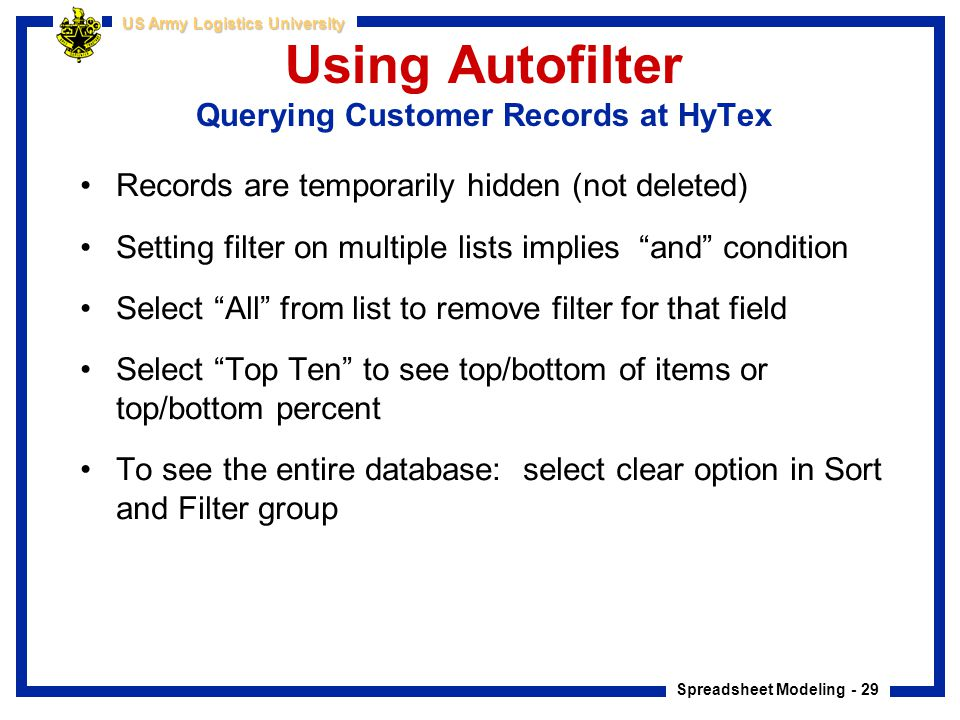Using Autofilter Querying Customer Records at HyTex