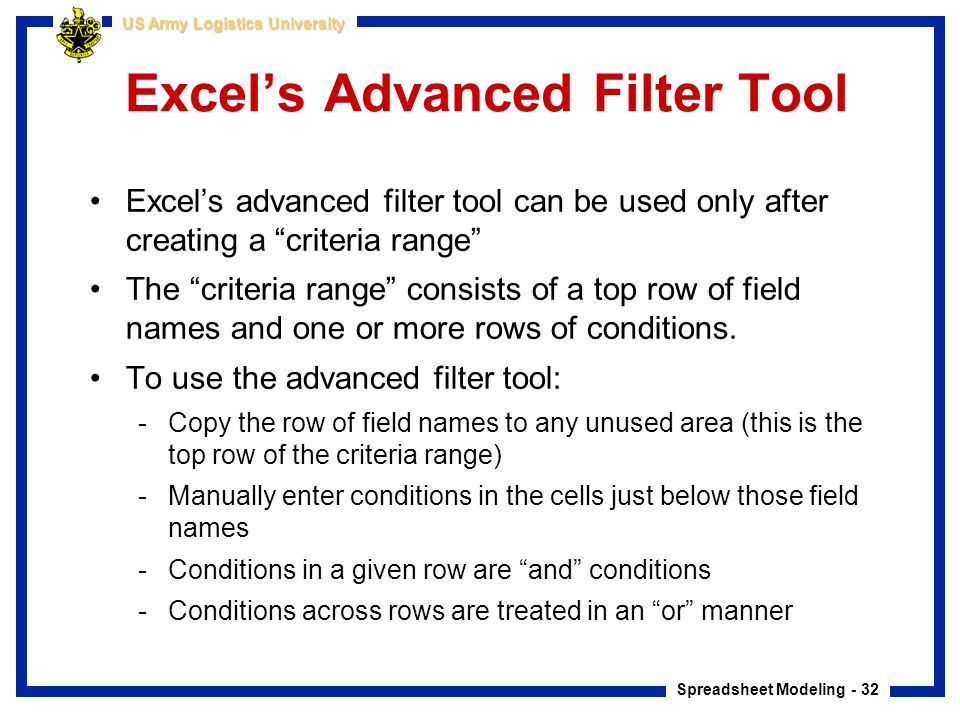 Excel's Advanced Filter Tool